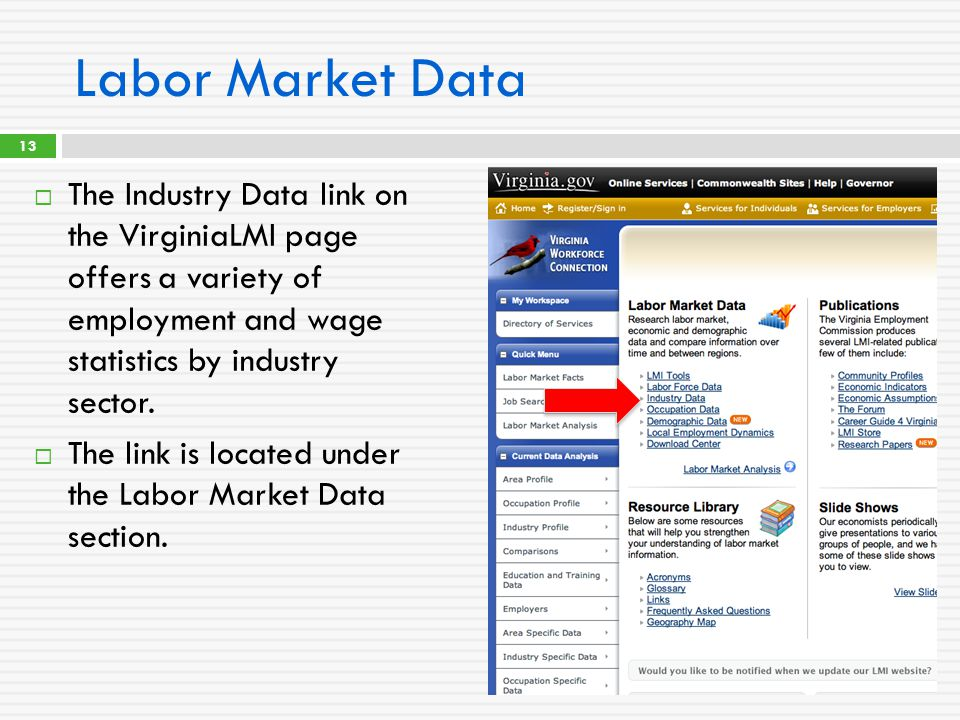 Labor Market Data  The Industry Data link on the VirginiaLMI page offers a variety of employment and wage statistics by industry sector.  The link i