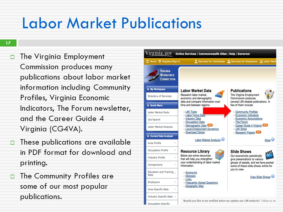 Labor Market Publications  The Virginia Employment Commission produces many publications about labor market information including Community Profiles,