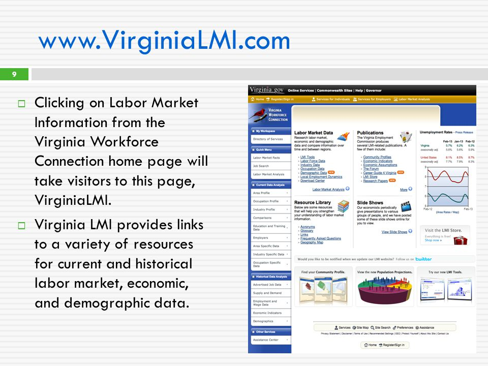 www.VirginiaLMI.com  Clicking on Labor Market Information from the Virginia Workforce Connection home page will take visitors to this page, VirginiaL