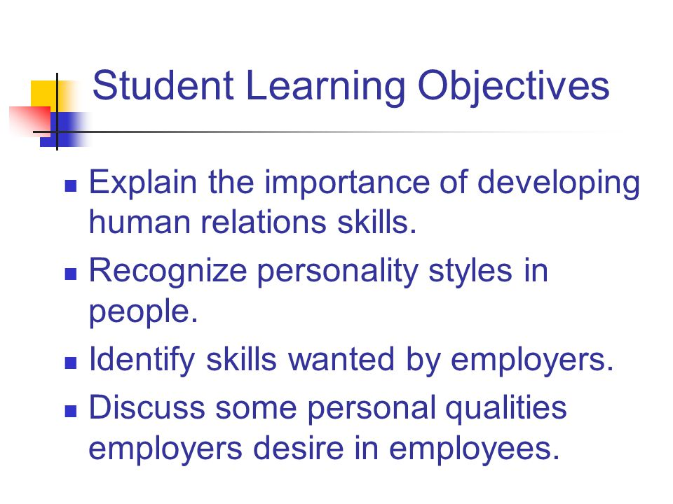 Student Learning Objectives Explain the importance of developing human relations skills.