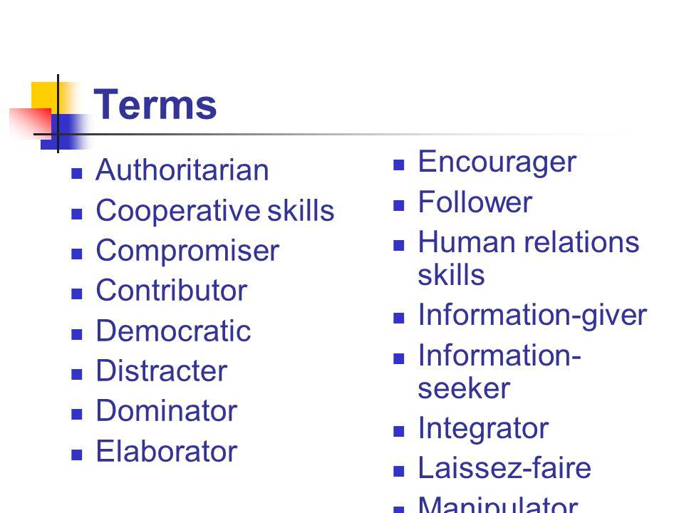 Terms Authoritarian Cooperative skills Compromiser Contributor Democratic Distracter Dominator Elaborator Encourager Follower Human relations skills Information-giver Information- seeker Integrator Laissez-faire Manipulator