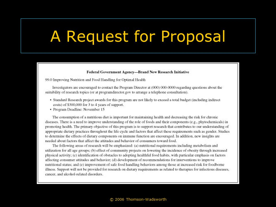 © 2006 Thomson-Wadsworth A Request for Proposal