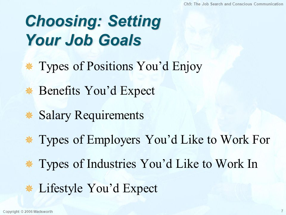Ch9: The Job Search and Conscious Communication Copyright © 2006 Wadsworth 7 Choosing: Setting Your Job Goals  Types of Positions You'd Enjoy  Benef