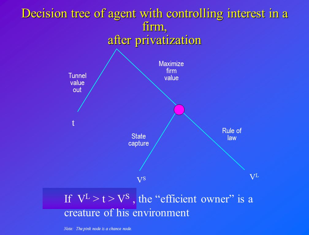 """Decision tree of agent with controlling interest in a firm, after privatization State capture Rule of law VSVS VLVL If V L > t > V S, the """"efficient o"""
