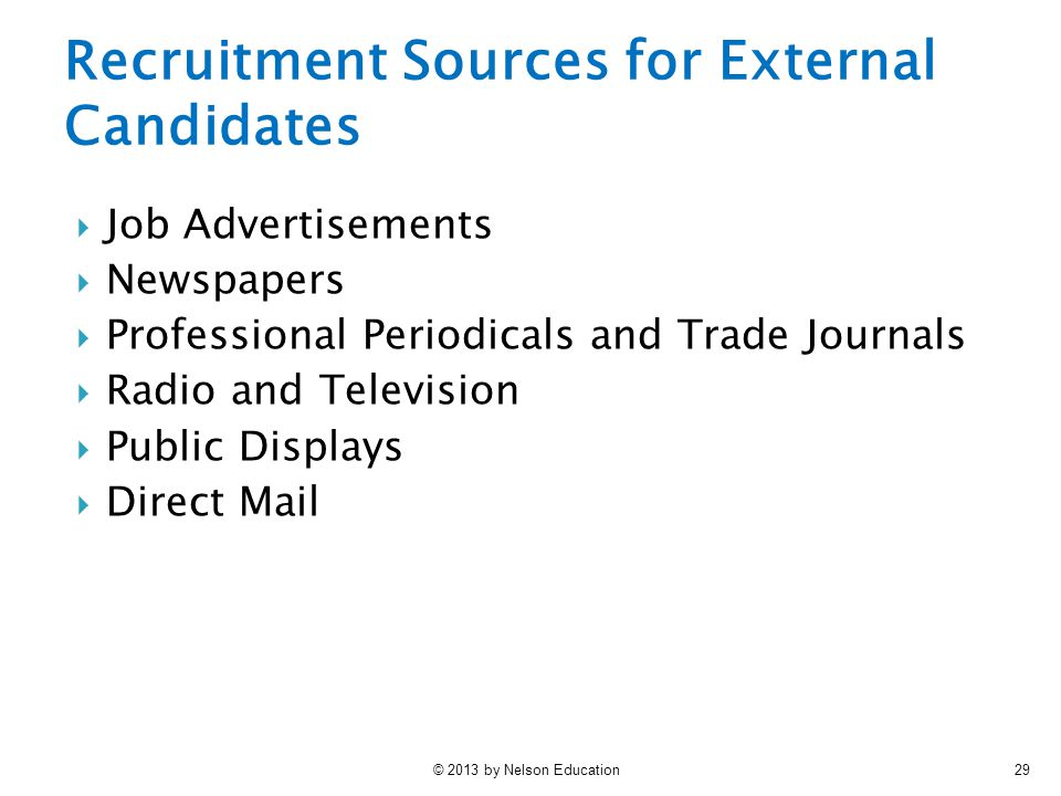 © 2013 by Nelson Education29 Recruitment Sources for External Candidates  Job Advertisements  Newspapers  Professional Periodicals and Trade Journa
