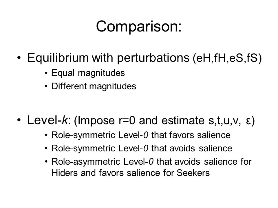 Comparison: Equilibrium with perturbations (eH,fH,eS,fS) Equal magnitudes Different magnitudes Level-k: (Impose r=0 and estimate s,t,u,v, ε) Role-symmetric Level-0 that favors salience Role-symmetric Level-0 that avoids salience Role-asymmetric Level-0 that avoids salience for Hiders and favors salience for Seekers