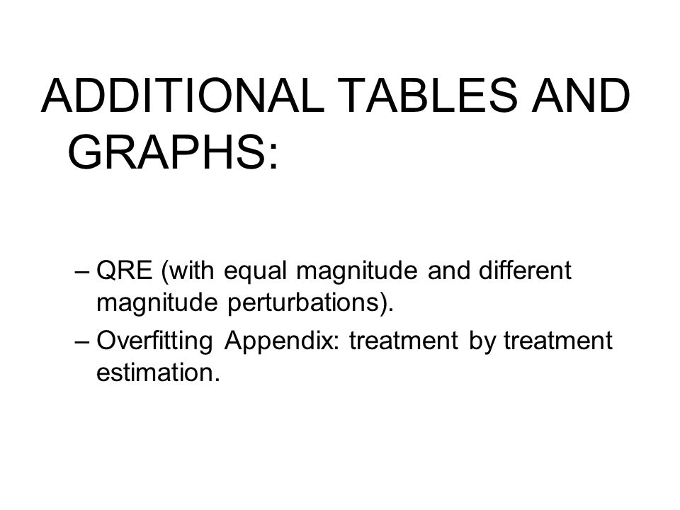 ADDITIONAL TABLES AND GRAPHS: –QRE (with equal magnitude and different magnitude perturbations).