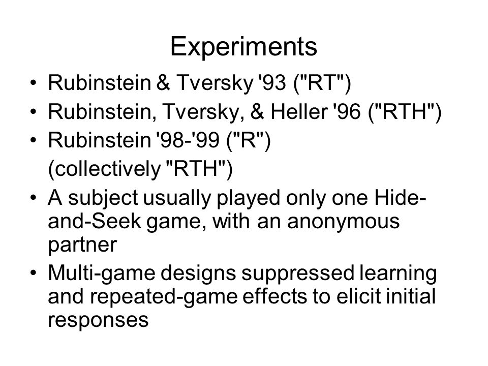 RTH took these patterns as evidence that their subjects did not think strategically The finding that both choosers and guessers selected the least salient alternative suggests little or no strategic thinking. In the competitive games, however, the players employed a naïve strategy (avoiding the endpoints), that is not guided by valid strategic reasoning.