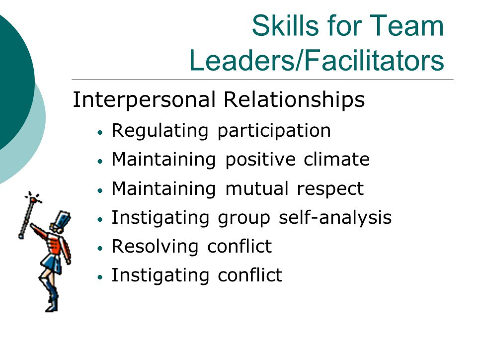 Skills for Team Leaders/Facilitators Interpersonal Relationships Regulating participation Maintaining positive climate Maintaining mutual respect Inst