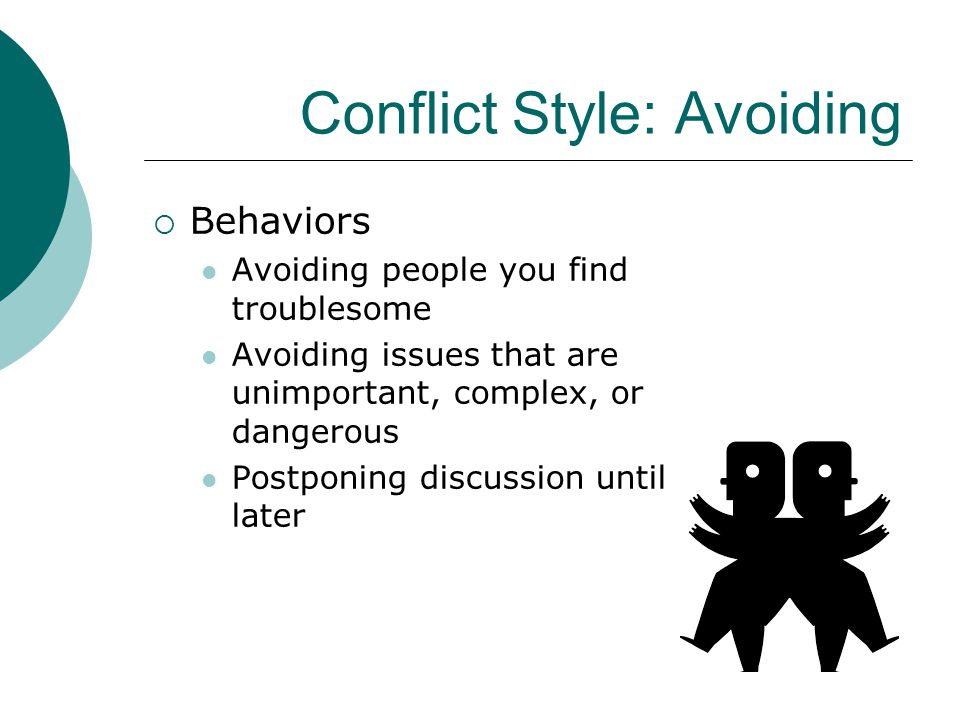 Conflict Style: Avoiding  Behaviors Avoiding people you find troublesome Avoiding issues that are unimportant, complex, or dangerous Postponing discu