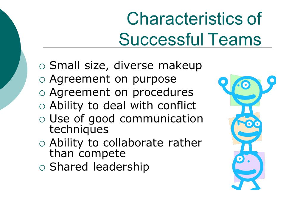Characteristics of Successful Teams  Small size, diverse makeup  Agreement on purpose  Agreement on procedures  Ability to deal with conflict  Us