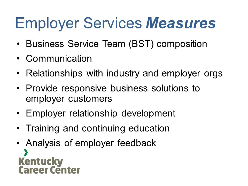 Employer Services Measures Business Service Team (BST) composition Communication Relationships with industry and employer orgs Provide responsive business solutions to employer customers Employer relationship development Training and continuing education Analysis of employer feedback
