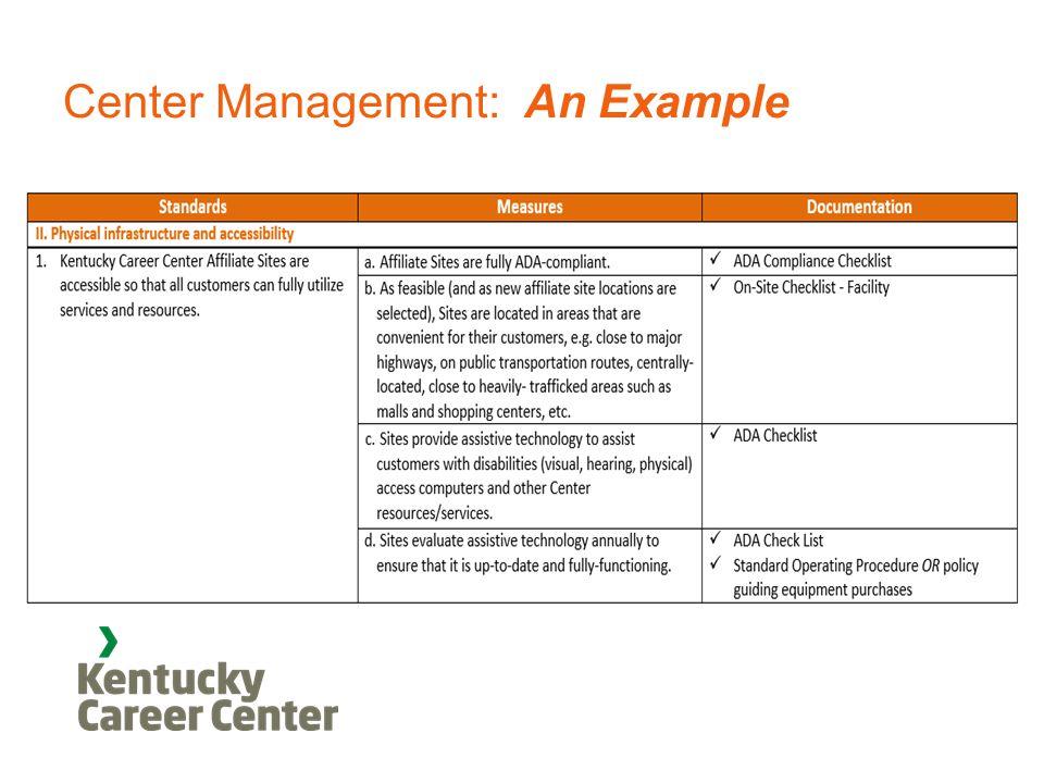 Center Management: An Example
