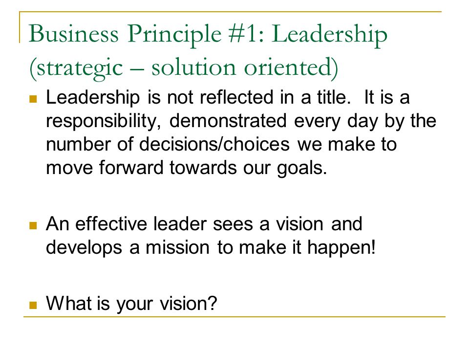 Business Principle #1: Leadership (strategic – solution oriented) Leadership is not reflected in a title. It is a responsibility, demonstrated every d