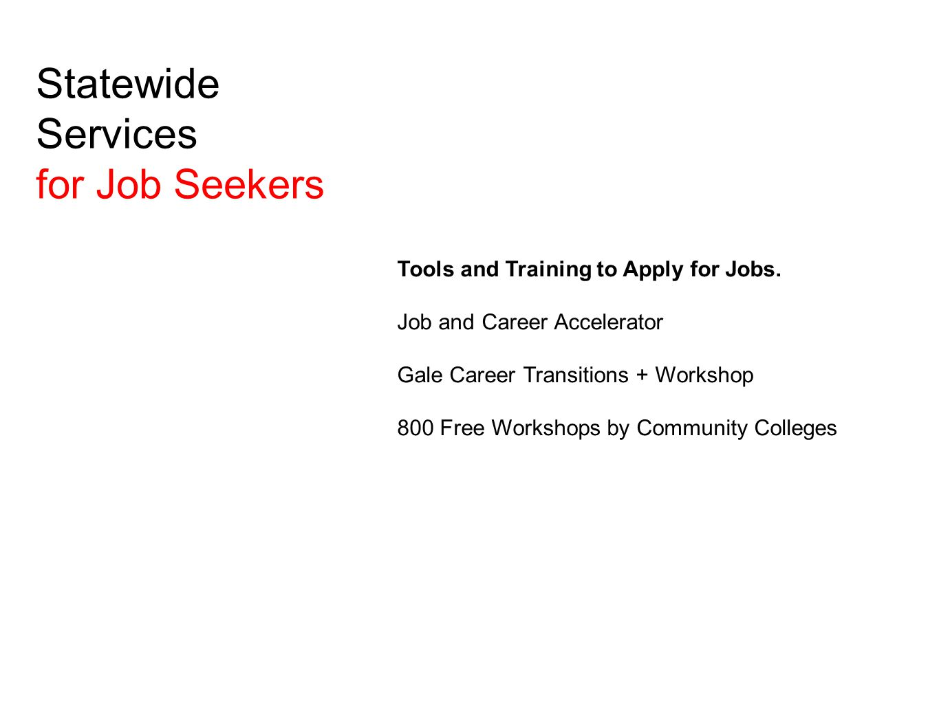 Local Services for Job Seekers Assessment List services offered by your library: