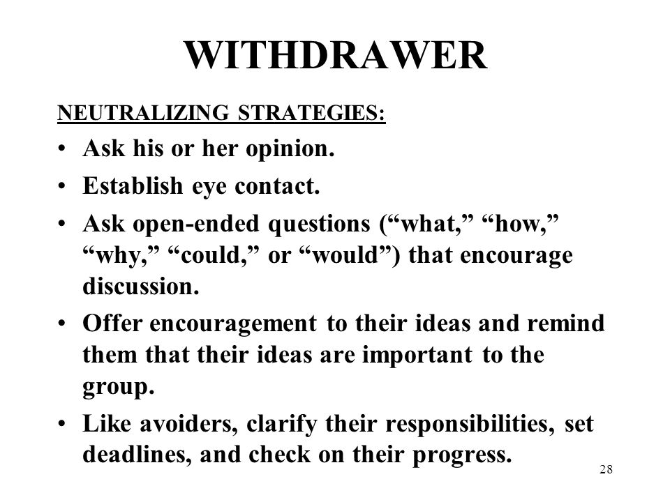 "28 WITHDRAWER NEUTRALIZING STRATEGIES: Ask his or her opinion. Establish eye contact. Ask open-ended questions (""what,"" ""how,"" ""why,"" ""could,"" or ""wou"