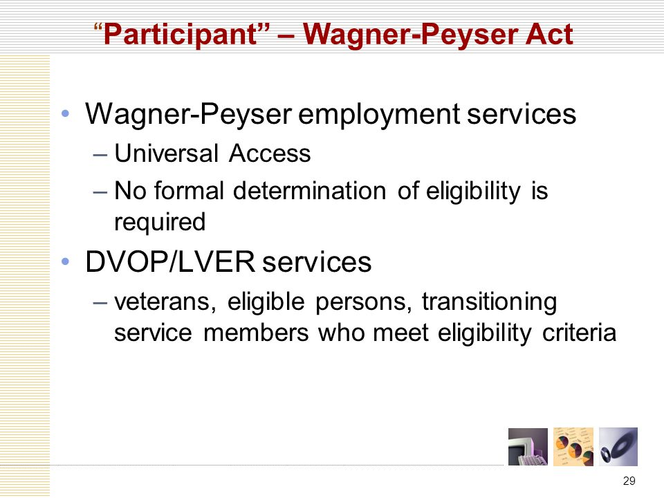 29 Participant – Wagner-Peyser Act Wagner-Peyser employment services –Universal Access –No formal determination of eligibility is required DVOP/LVER services –veterans, eligible persons, transitioning service members who meet eligibility criteria