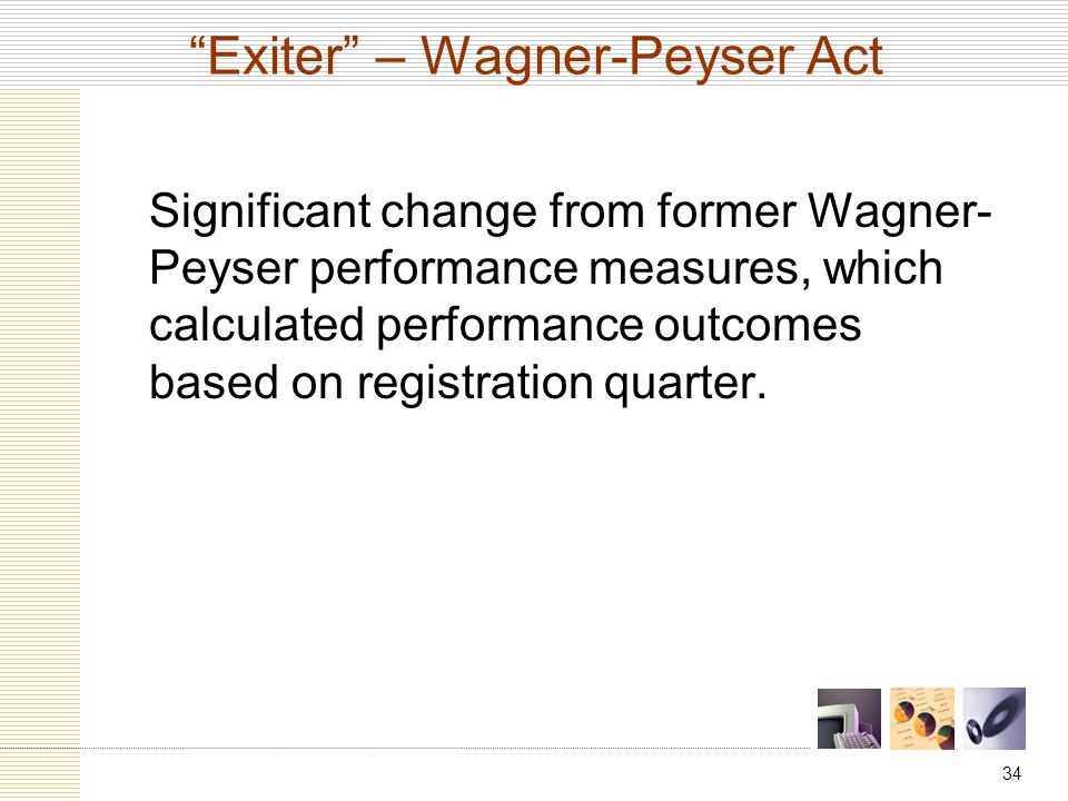 34 Exiter – Wagner-Peyser Act Significant change from former Wagner- Peyser performance measures, which calculated performance outcomes based on registration quarter.