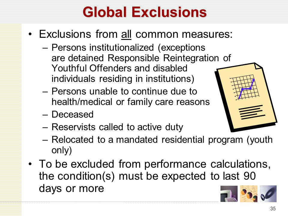 35 Global Exclusions Exclusions from all common measures: –Persons institutionalized (exceptions are detained Responsible Reintegration of Youthful Offenders and disabled individuals residing in institutions) –Persons unable to continue due to health/medical or family care reasons –Deceased –Reservists called to active duty –Relocated to a mandated residential program (youth only) To be excluded from performance calculations, the condition(s) must be expected to last 90 days or more