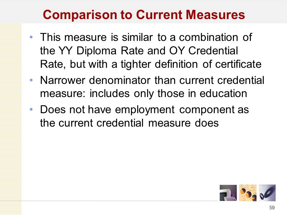 59 Comparison to Current Measures This measure is similar to a combination of the YY Diploma Rate and OY Credential Rate, but with a tighter definition of certificate Narrower denominator than current credential measure: includes only those in education Does not have employment component as the current credential measure does