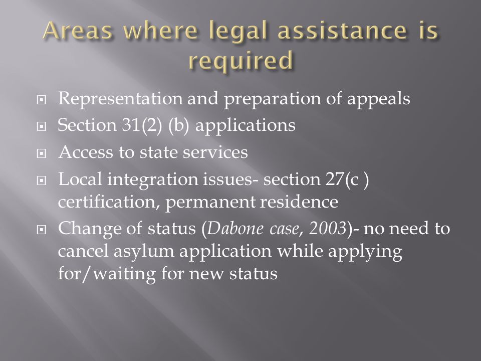  Representation and preparation of appeals  Section 31(2) (b) applications  Access to state services  Local integration issues- section 27(c ) certification, permanent residence  Change of status ( Dabone case, 2003 )- no need to cancel asylum application while applying for/waiting for new status