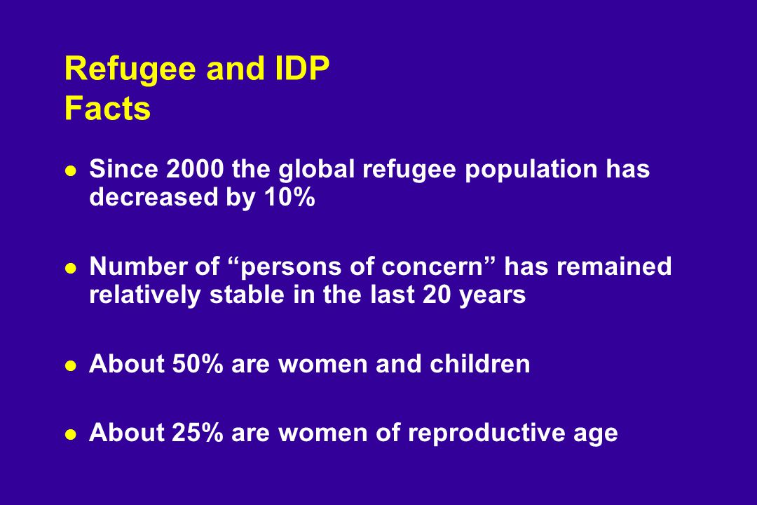 Refugee and IDP Facts l Since 2000 the global refugee population has decreased by 10% l Number of persons of concern has remained relatively stable in the last 20 years l About 50% are women and children l About 25% are women of reproductive age