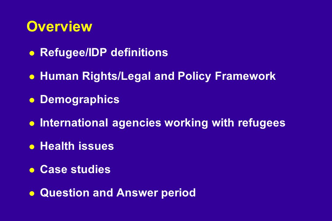 Overview l Refugee/IDP definitions l Human Rights/Legal and Policy Framework l Demographics l International agencies working with refugees l Health issues l Case studies l Question and Answer period
