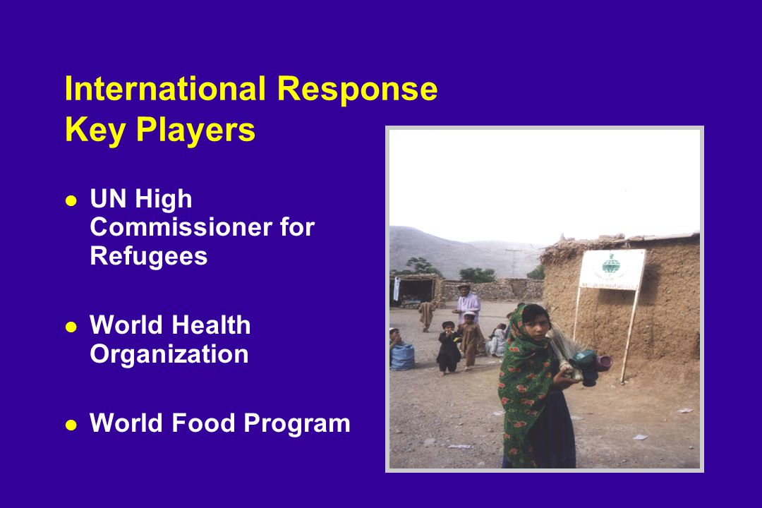 International Response Key Players l UN High Commissioner for Refugees l World Health Organization l World Food Program