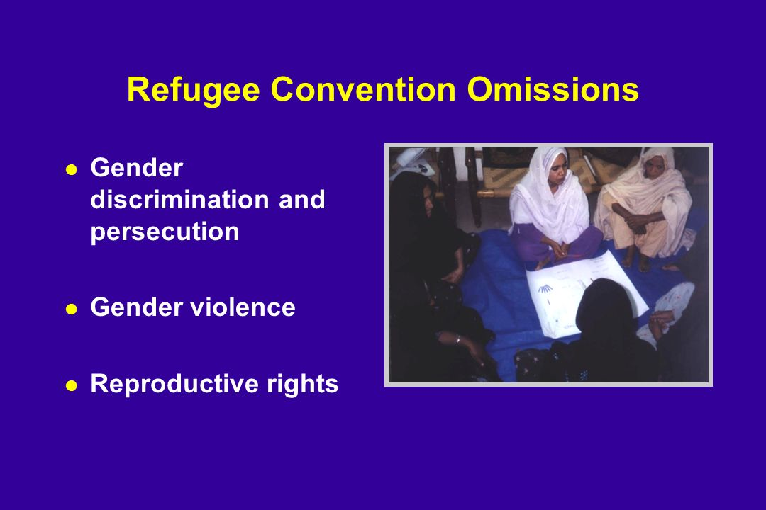 Refugee Convention Omissions l Gender discrimination and persecution l Gender violence l Reproductive rights