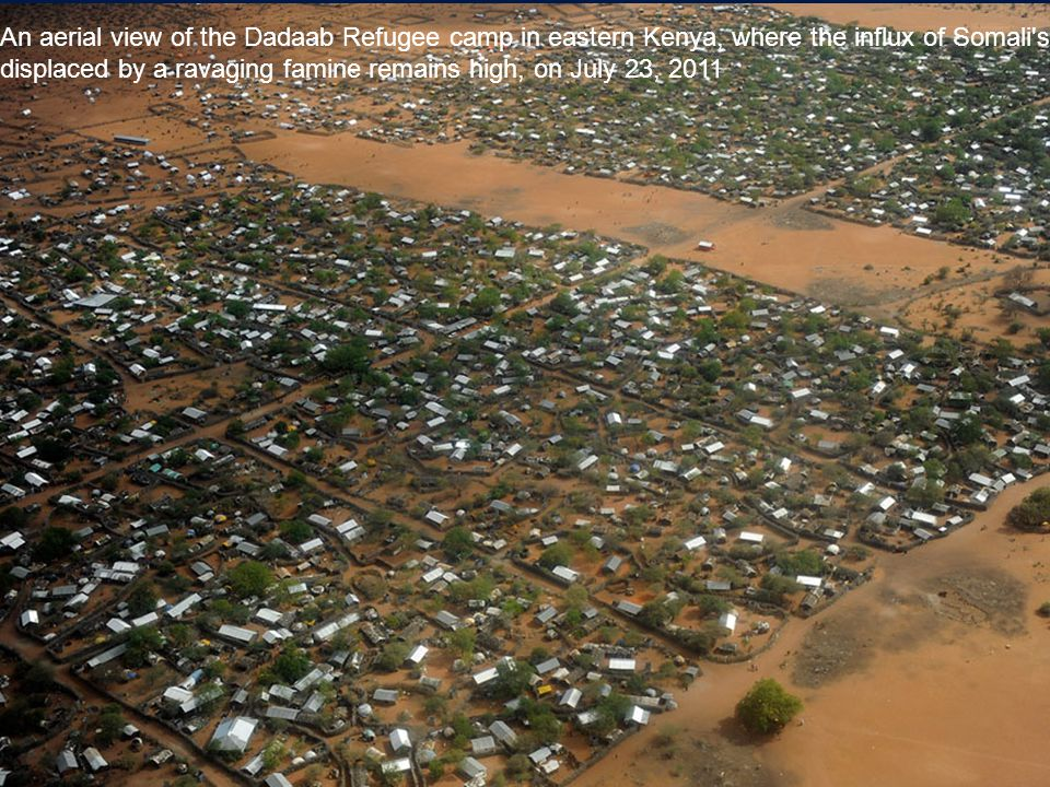 An aerial view of the Dadaab Refugee camp in eastern Kenya, where the influx of Somali s displaced by a ravaging famine remains high, on July 23, 2011