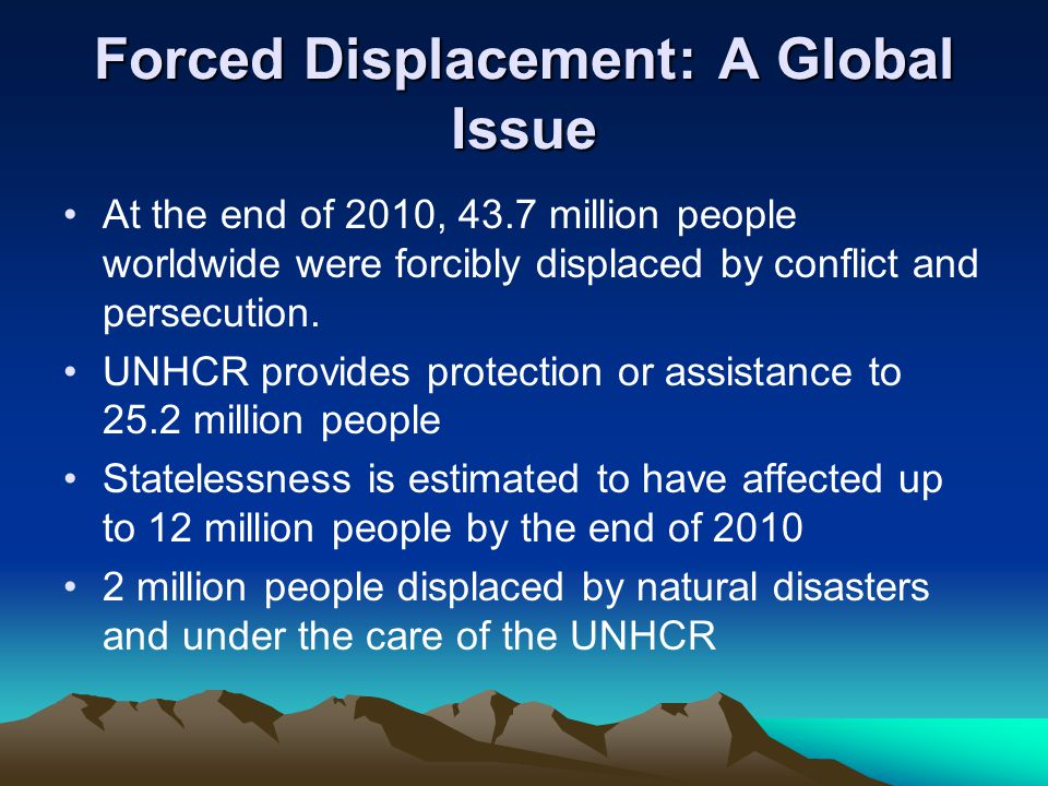 Forced Displacement: A Global Issue At the end of 2010, 43.7 million people worldwide were forcibly displaced by conflict and persecution.