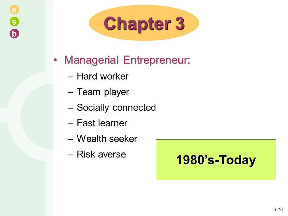 e s b Managerial Entrepreneur:Managerial Entrepreneur: –Hard worker –Team player –Socially connected –Fast learner –Wealth seeker –Risk averse Chapter