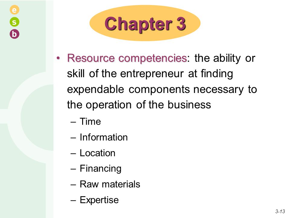 e s b Resource competenciesResource competencies: the ability or skill of the entrepreneur at finding expendable components necessary to the operation