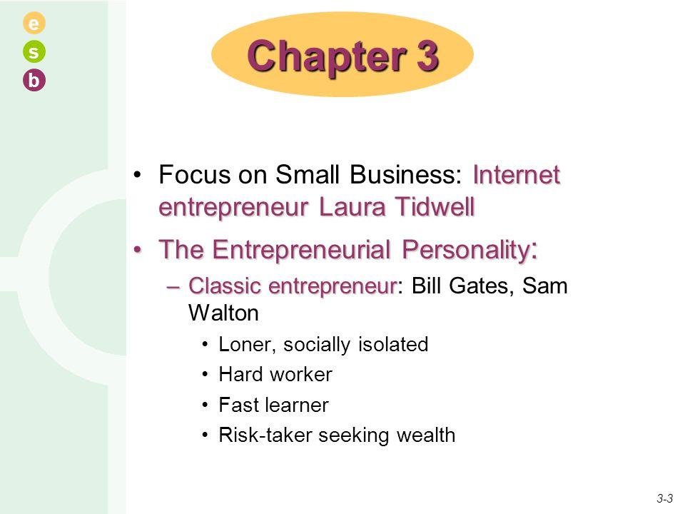 e s b Internet entrepreneur Laura TidwellFocus on Small Business: Internet entrepreneur Laura Tidwell The Entrepreneurial Personality :The Entrepreneu