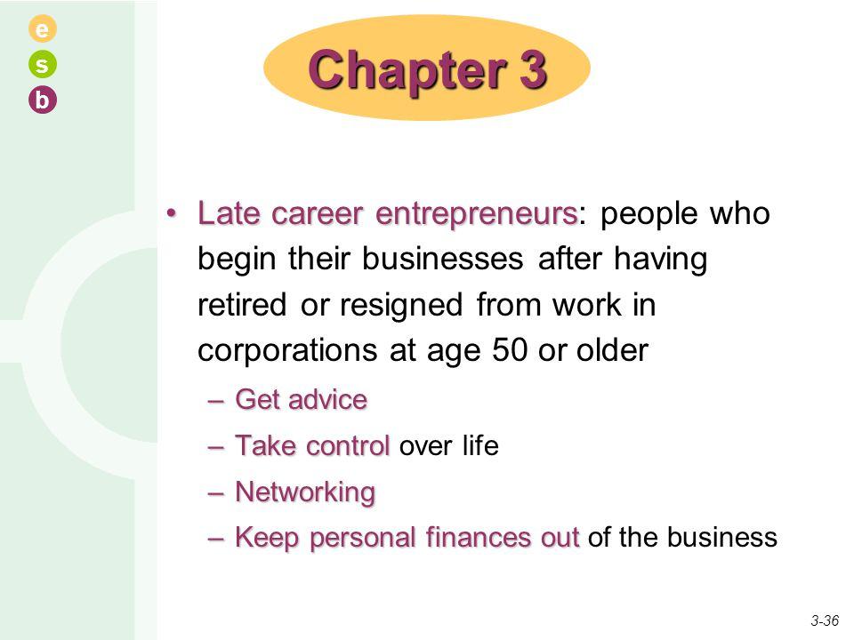 e s b Late career entrepreneursLate career entrepreneurs: people who begin their businesses after having retired or resigned from work in corporations