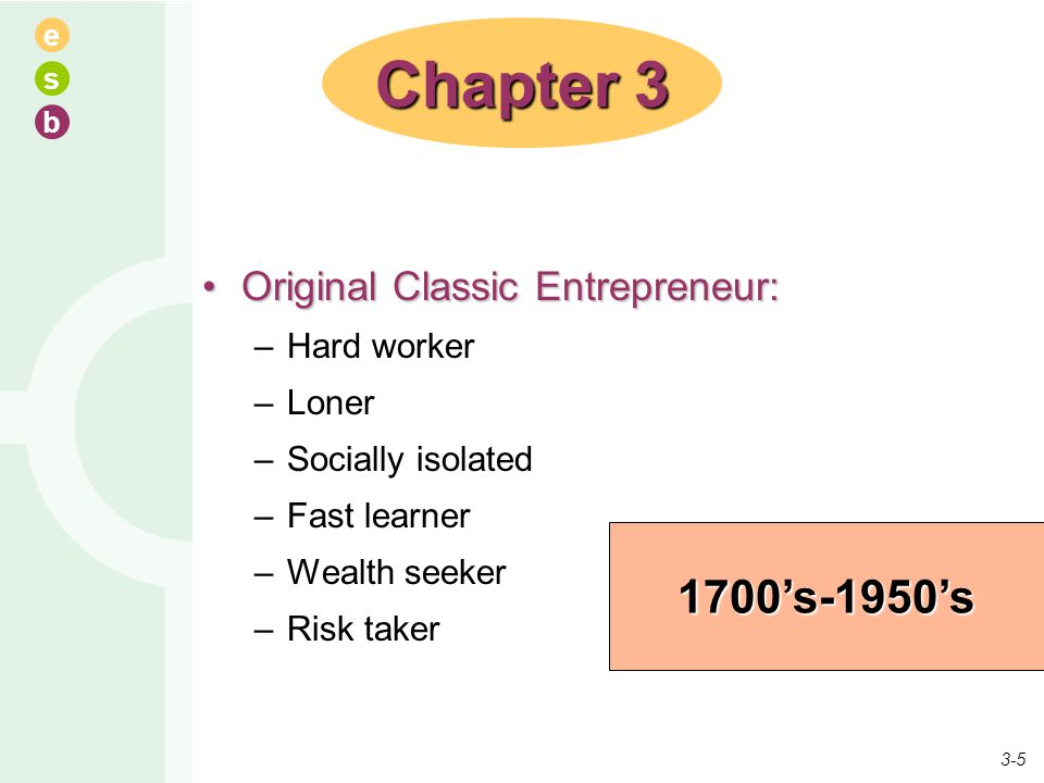 e s b Original Classic Entrepreneur:Original Classic Entrepreneur: –Hard worker –Loner –Socially isolated –Fast learner –Wealth seeker –Risk taker Cha