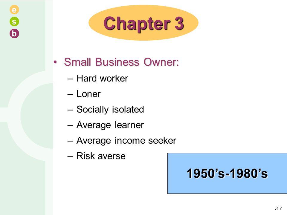 e s b Small Business Owner:Small Business Owner: –Hard worker –Loner –Socially isolated –Average learner –Average income seeker –Risk averse Chapter 3