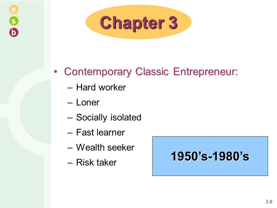 e s b Contemporary Classic Entrepreneur:Contemporary Classic Entrepreneur: –Hard worker –Loner –Socially isolated –Fast learner –Wealth seeker –Risk t