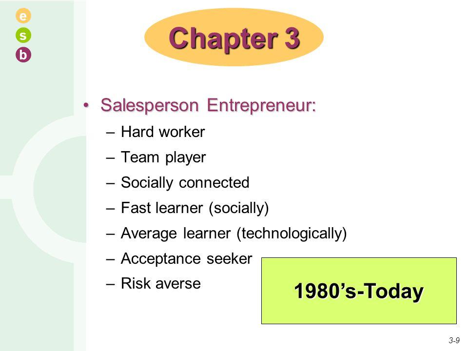 e s b Salesperson Entrepreneur:Salesperson Entrepreneur: –Hard worker –Team player –Socially connected –Fast learner (socially) –Average learner (tech