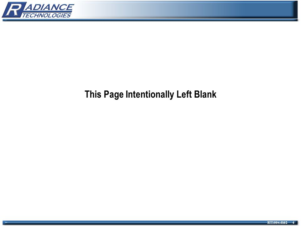 RT1004.0162 4 This Page Intentionally Left Blank