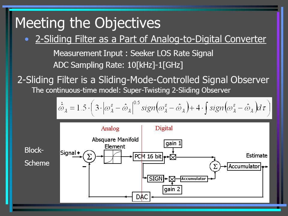 Meeting the Objectives 2-Sliding Filter as a Part of Analog-to-Digital Converter Measurement Input : Seeker LOS Rate Signal ADC Sampling Rate: 10[kHz]