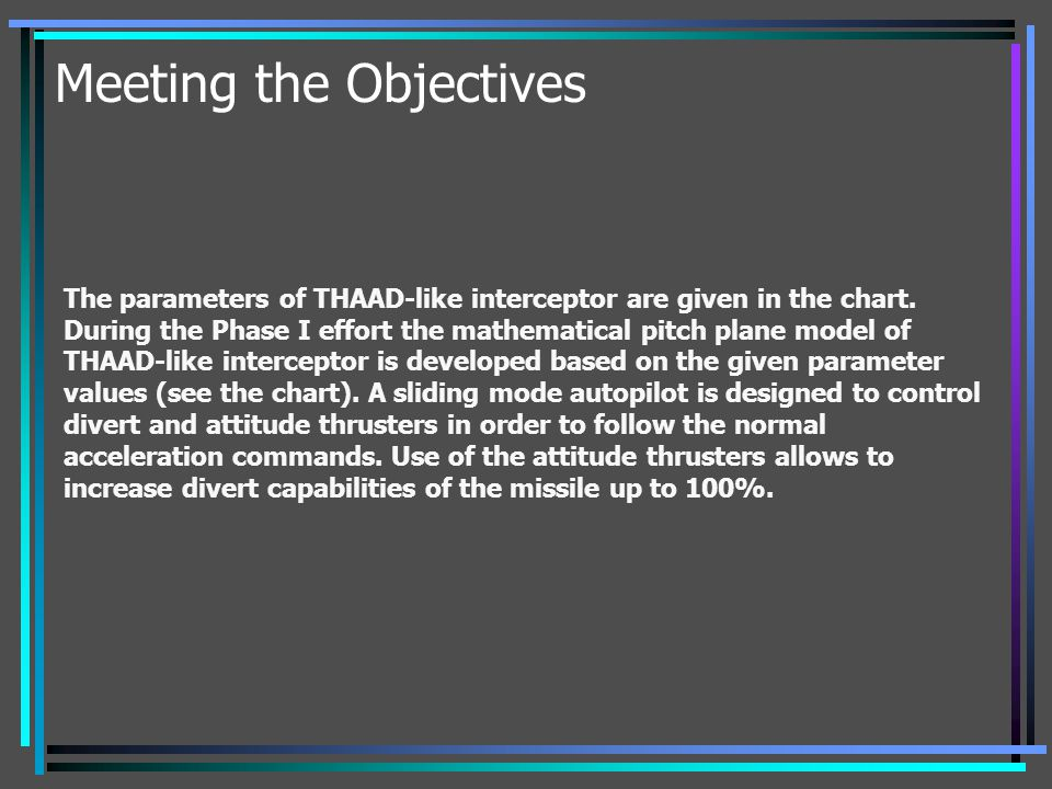 Meeting the Objectives The parameters of THAAD-like interceptor are given in the chart. During the Phase I effort the mathematical pitch plane model o