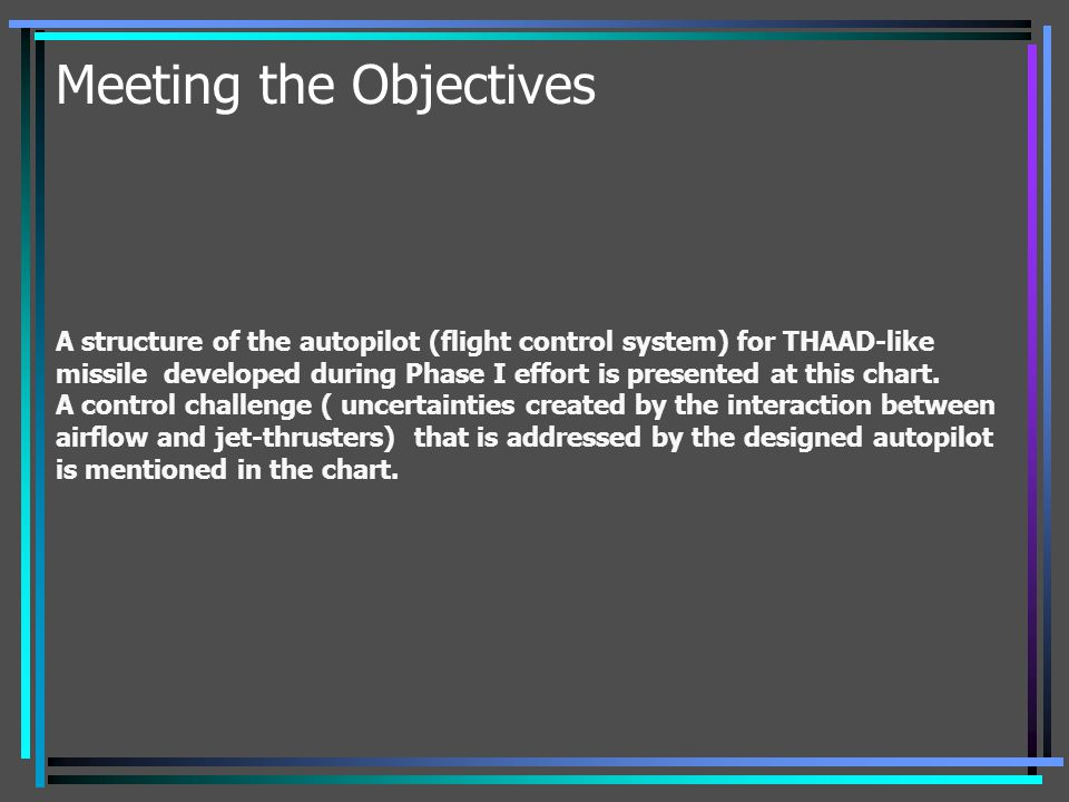 Meeting the Objectives A structure of the autopilot (flight control system) for THAAD-like missile developed during Phase I effort is presented at thi