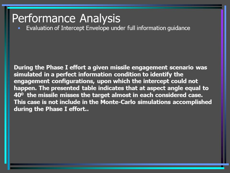 Performance Analysis During the Phase I effort a given missile engagement scenario was simulated in a perfect information condition to identify the en