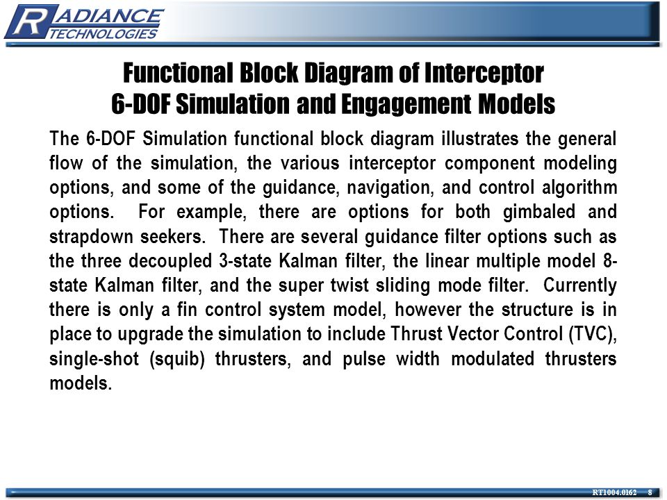 RT1004.0162 9 Functional Block Diagram of Interceptor 6-DOF Simulation and Engagement Models