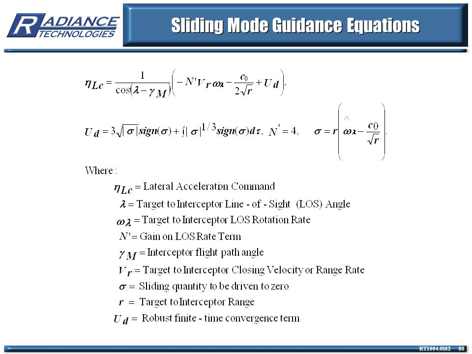 RT1004.0162 80 Sliding Mode Guidance Equations