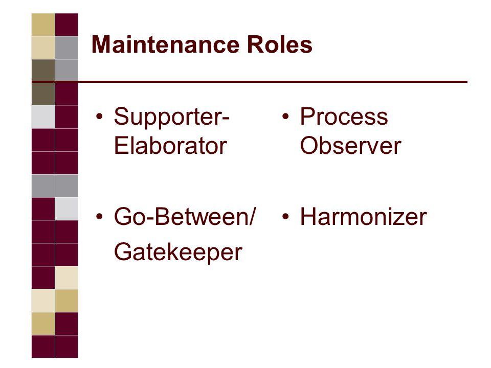 Maintenance Roles Supporter- Elaborator Go-Between/ Gatekeeper Process Observer Harmonizer