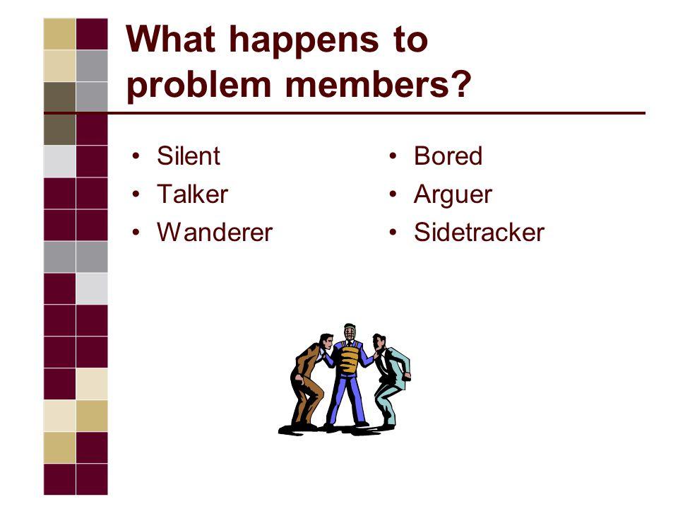 What happens to problem members Silent Talker Wanderer Bored Arguer Sidetracker