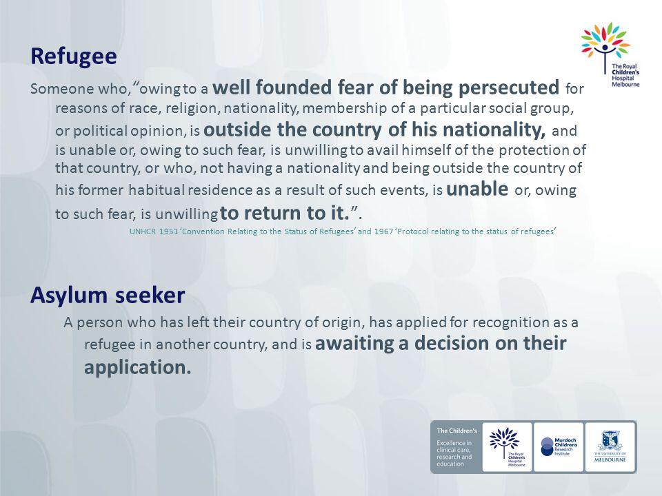 REFUGEE APPLICANT ONSHORE AIR ARRIVALS* Asylum seeker OFFSHORE Humanitarian entrant 'ILLEGAL'/UNAUTHORISED/IRREG ULAR MARITIME ARRIVALS