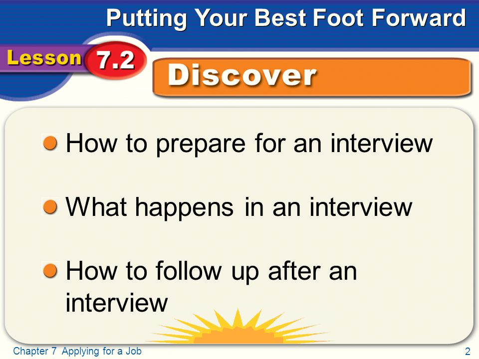 2 Chapter 7 Applying for a Job Putting Your Best Foot Forward Discover How to prepare for an interview What happens in an interview How to follow up after an interview